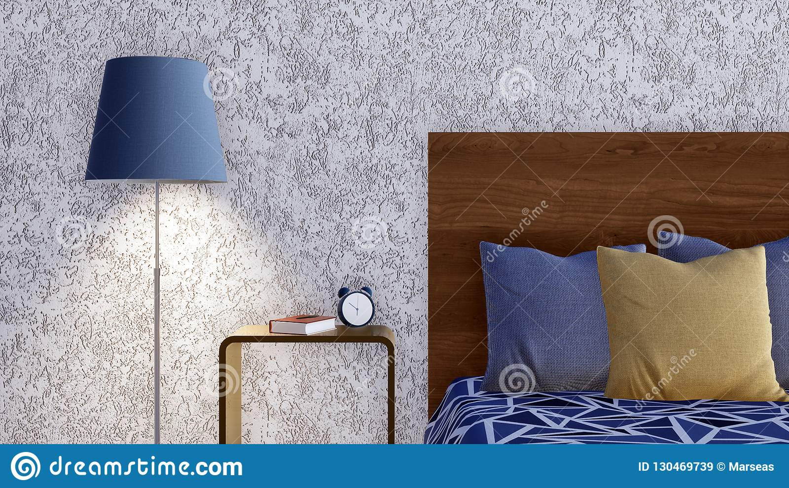 Close Up Of Bed In Minimalist Bedroom Interior 3d Stock