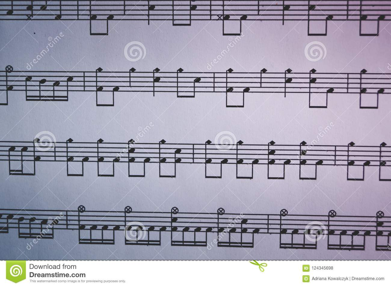 Drums Sheet Music Notes Close Up Stock Photo - Image of