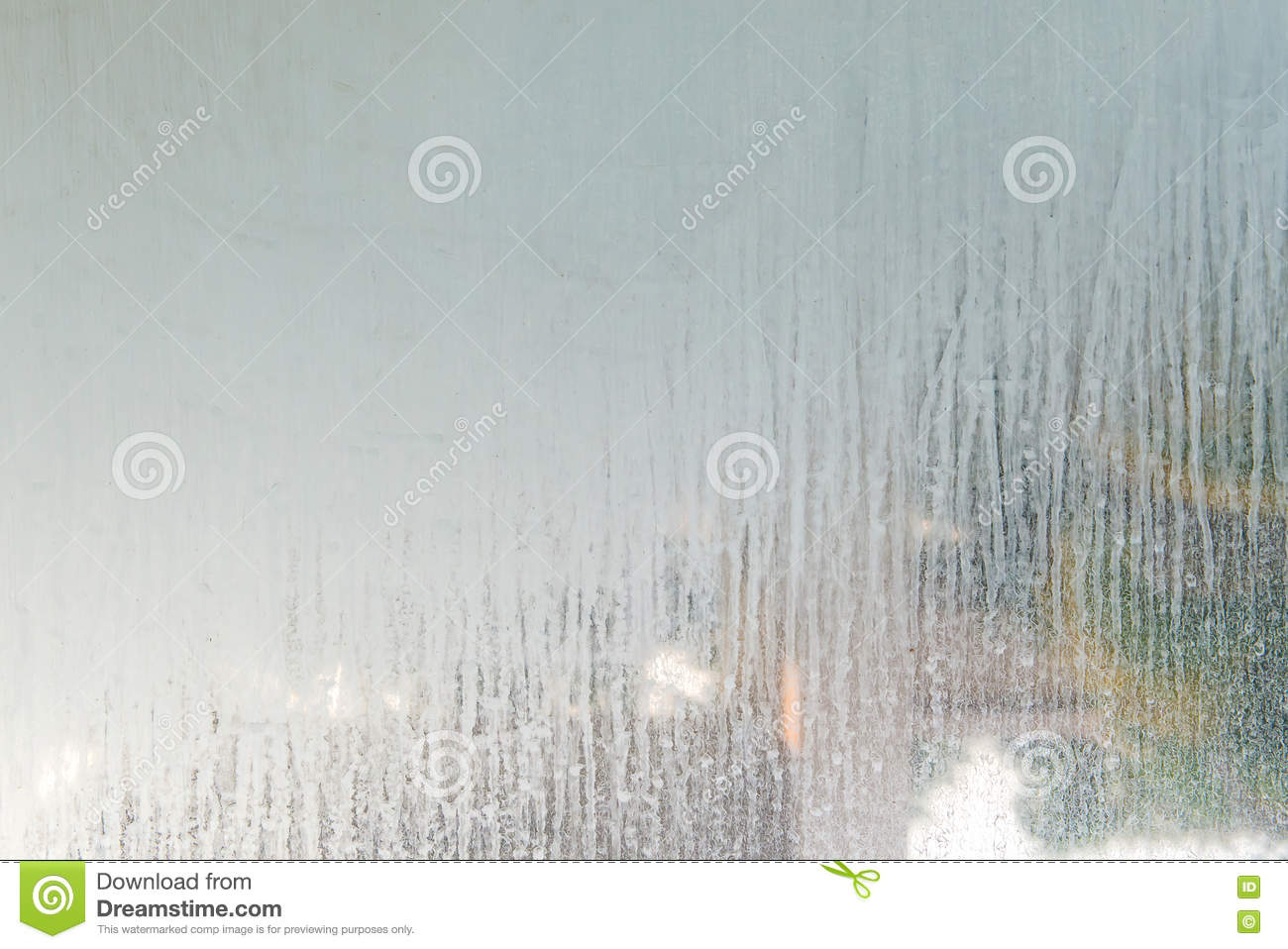 Close Up Dry Water Stains On The Glass Wall In Bathroom Stock Photo - Water stains on walls in bathroom
