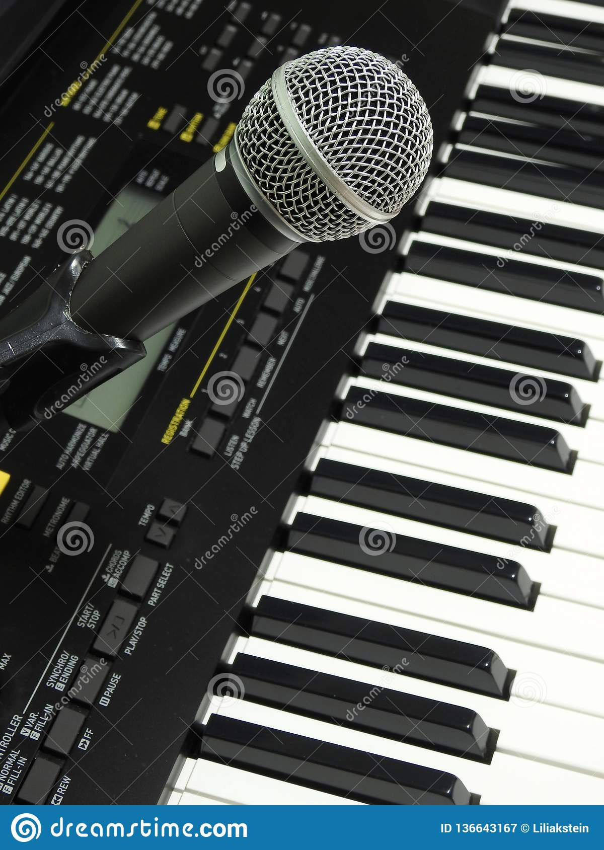 Close-up of a dynamic vocal microphone and a digital keyboard.