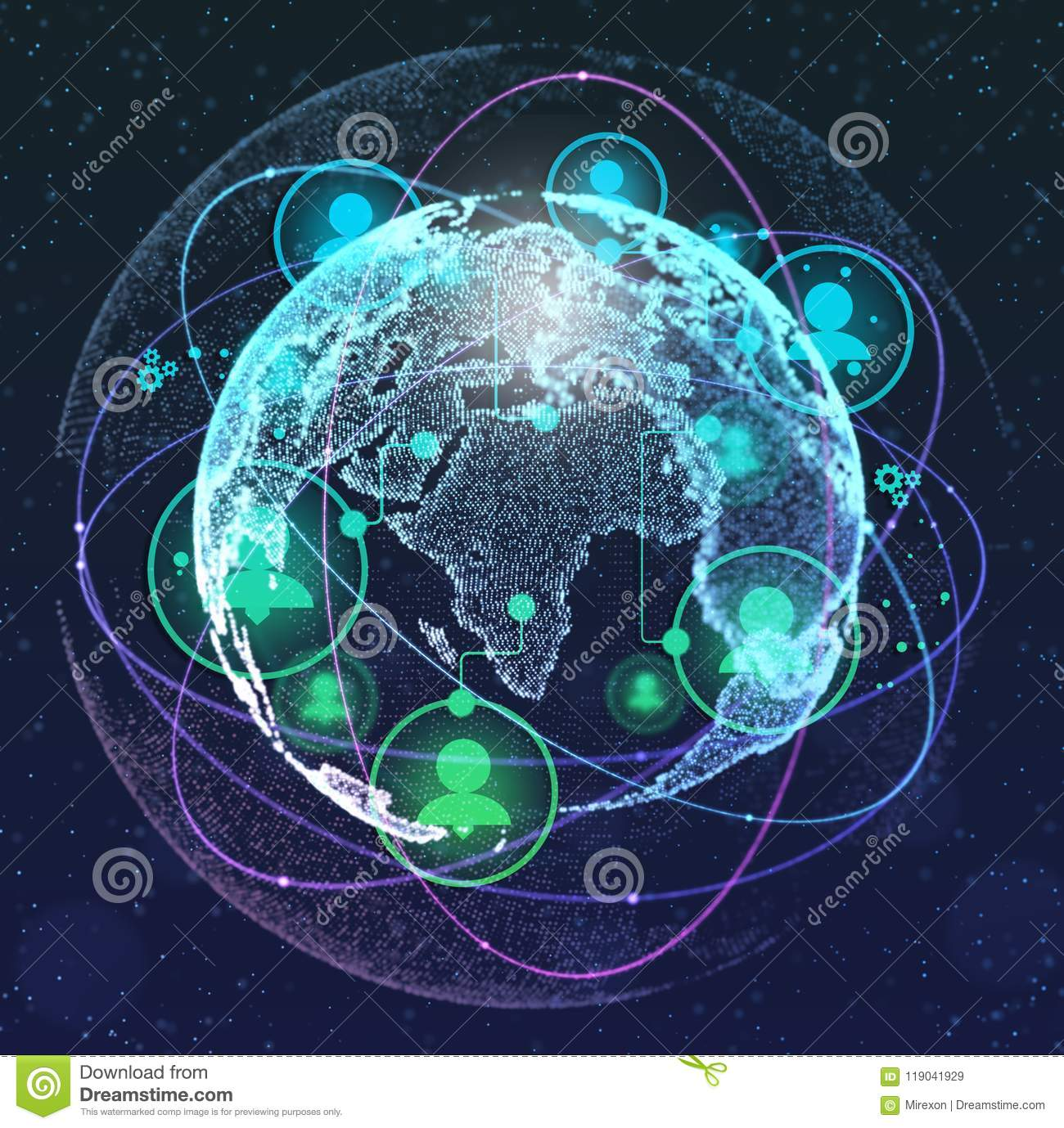 Close Up Of The Earth In The Dark Blue Background And A