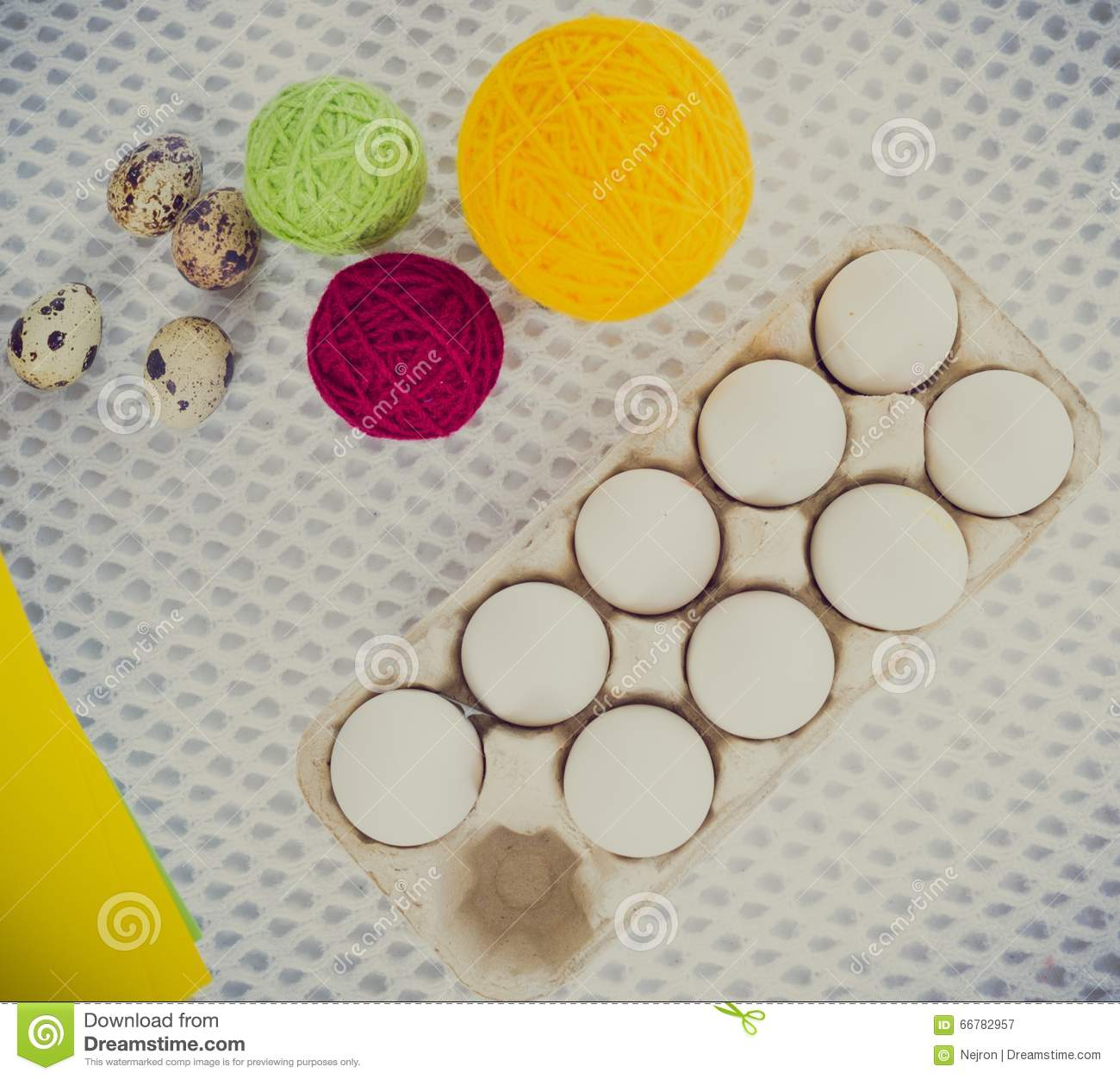 Close-up Easter Egg Decorating And Painting Tools. Stock Image ...