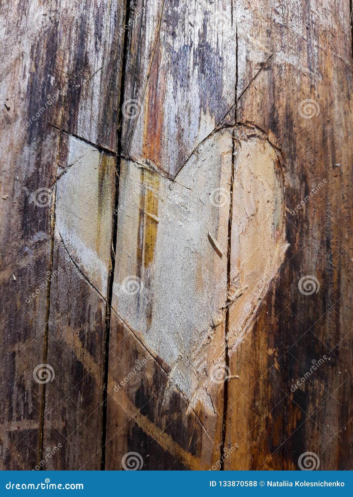 Close-up in een textuur van de boomboomstam in de vorm van een hart wordt gesneden dat