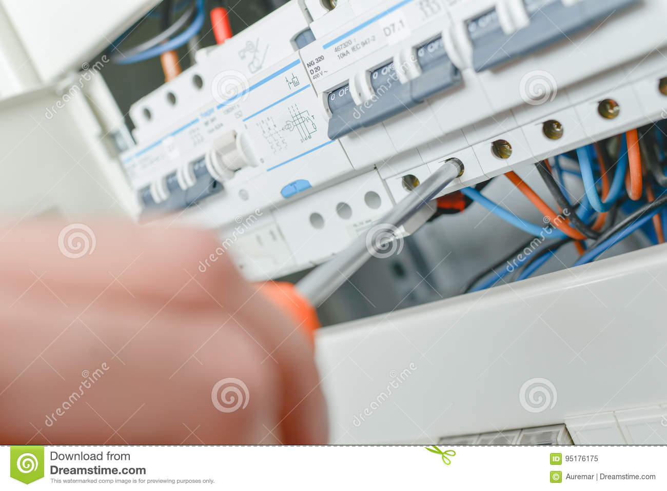 Close Up Electric Fuse Box Stock Image Of Light 95176175 O