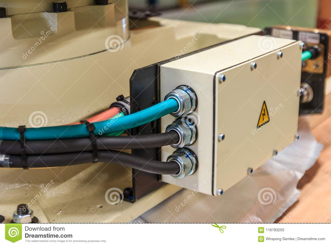 Electrical Cable At Connected To Junction Box Stock Photo Image Home Wiring Distribution
