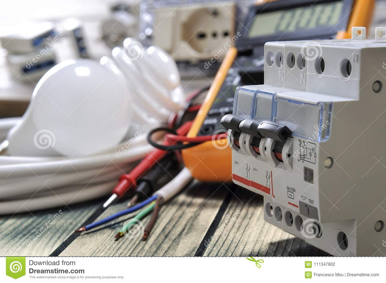 close up of electrical components and equipment on aged wooden rh dreamstime com Complete Electrical Circuit Basic Electrical Circuits