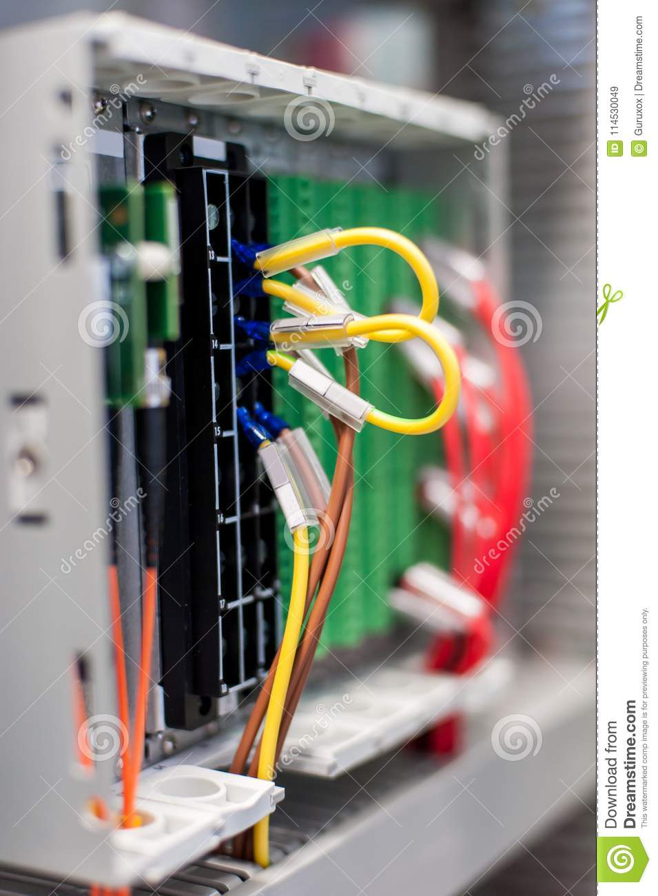 close up electrical installations and wires on relay protection rh dreamstime com Electrical Circuit Schematic Electrical Energy