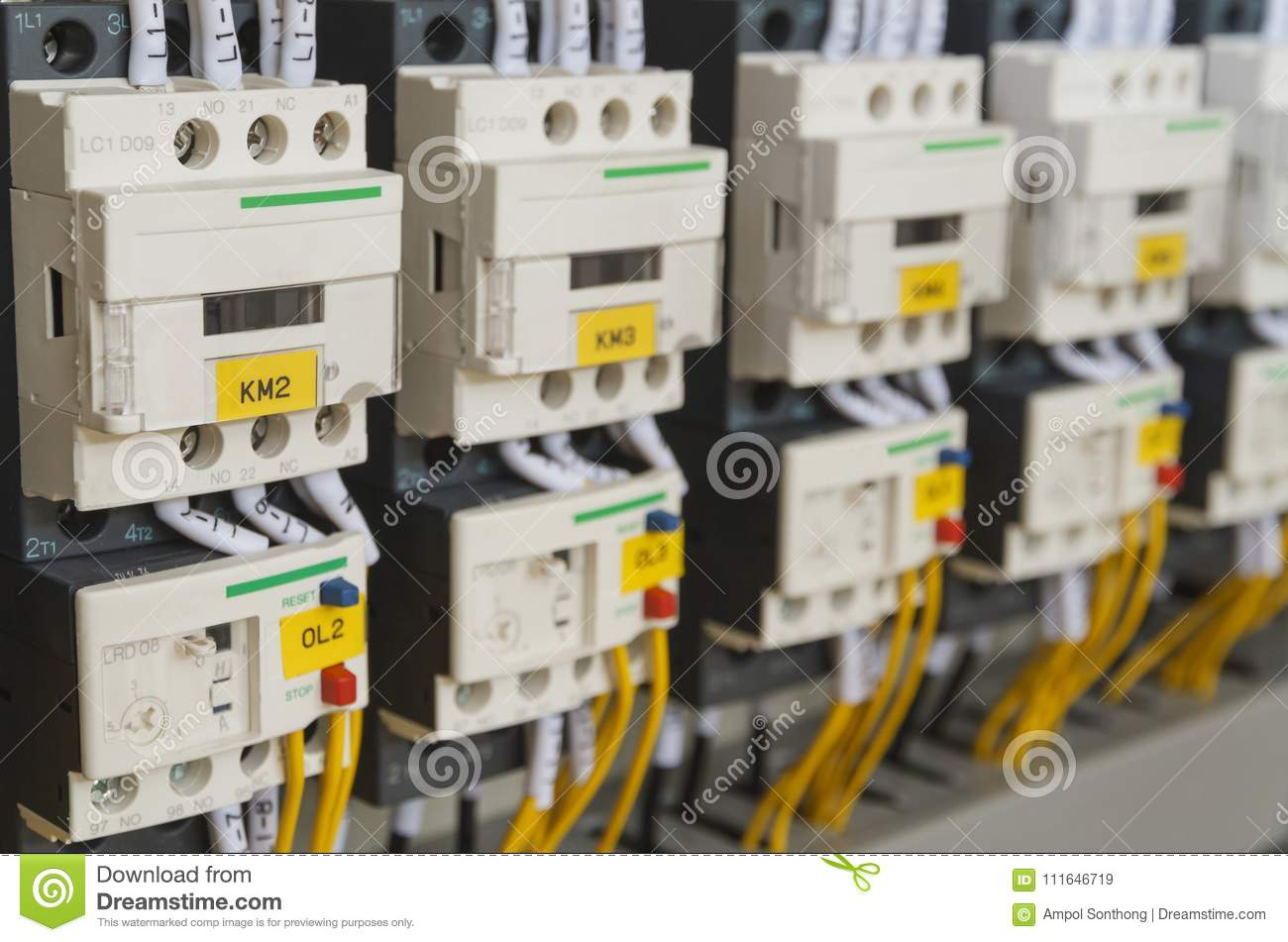close up electrical wiring fuses contactors control panel box automatic machine 111646719 close up electrical wiring with fuses and contactors stock image