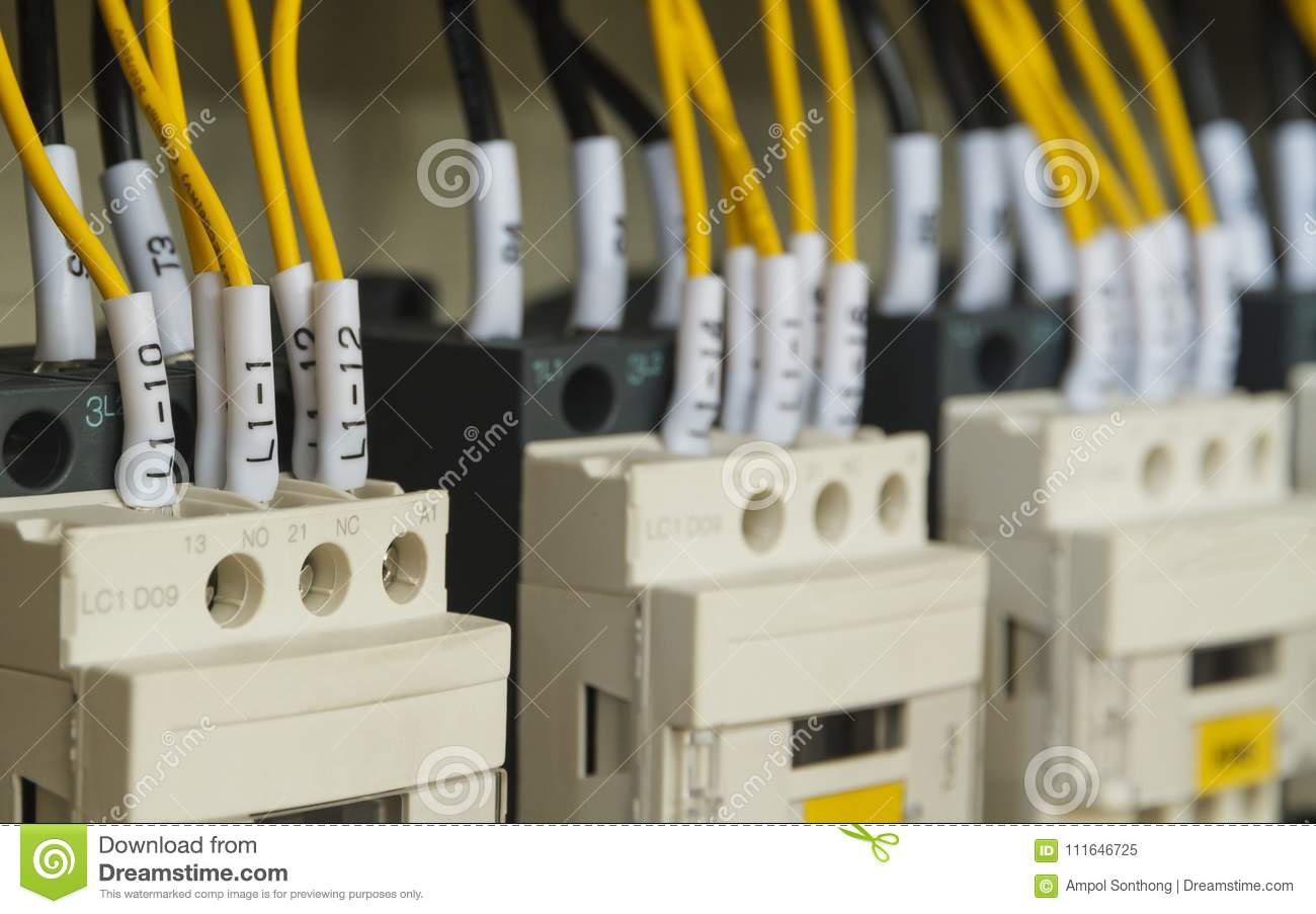 Close Up Electrical Wiring With Fuses And Contactors Stock Image Home Main Box In Control Panel Of Automatic Machine