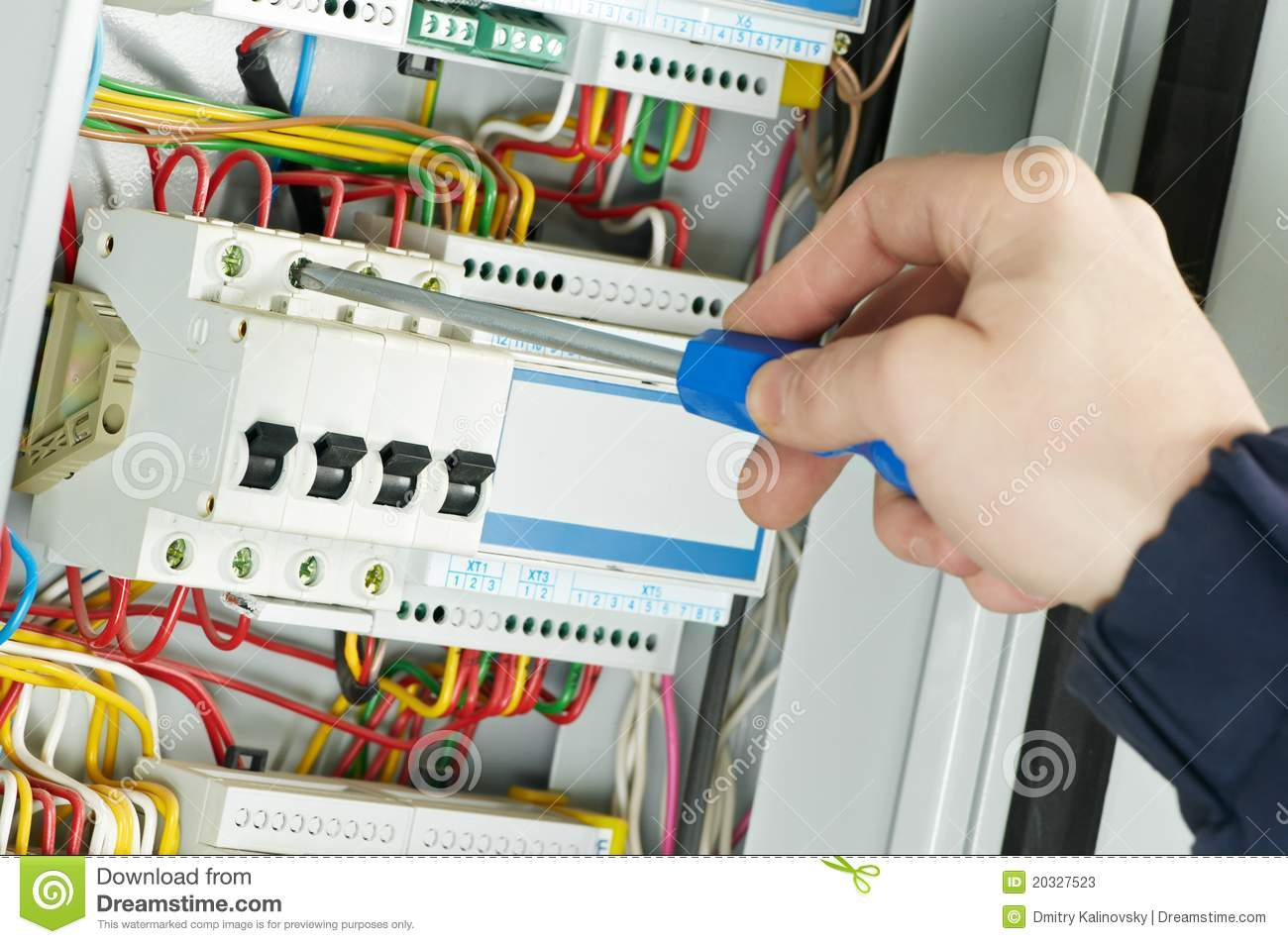 Close-up Of Electrician Work Stock Image - Image of actuator ...