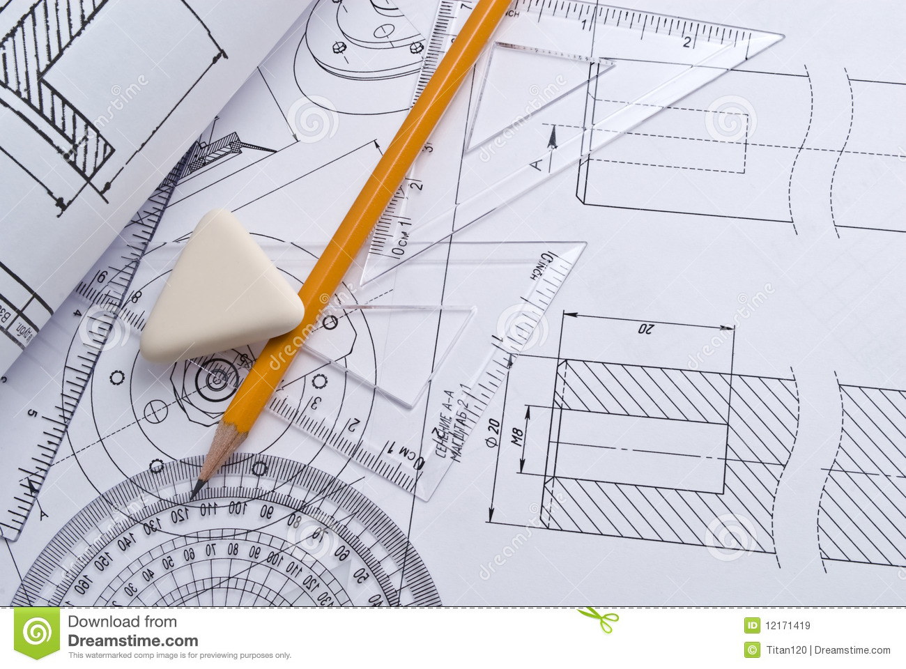 Close Up Of Engineering Drawing Royalty Free Stock Photos - Image ...