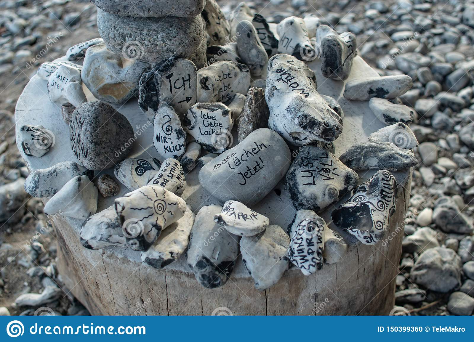 Close up of esoterical energy stones with written wishes