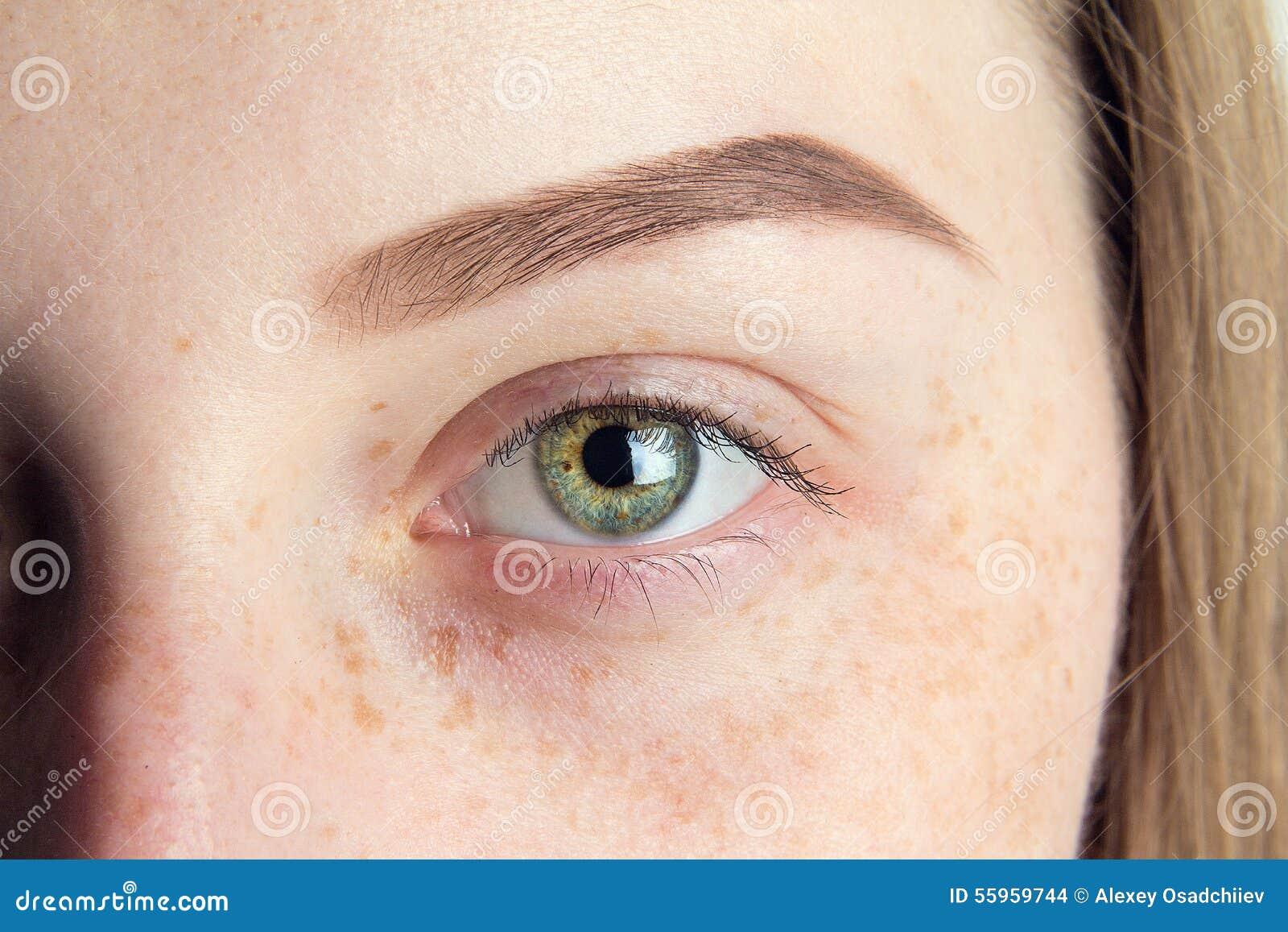 Close Up Eye And Eyebrow Stock Photo