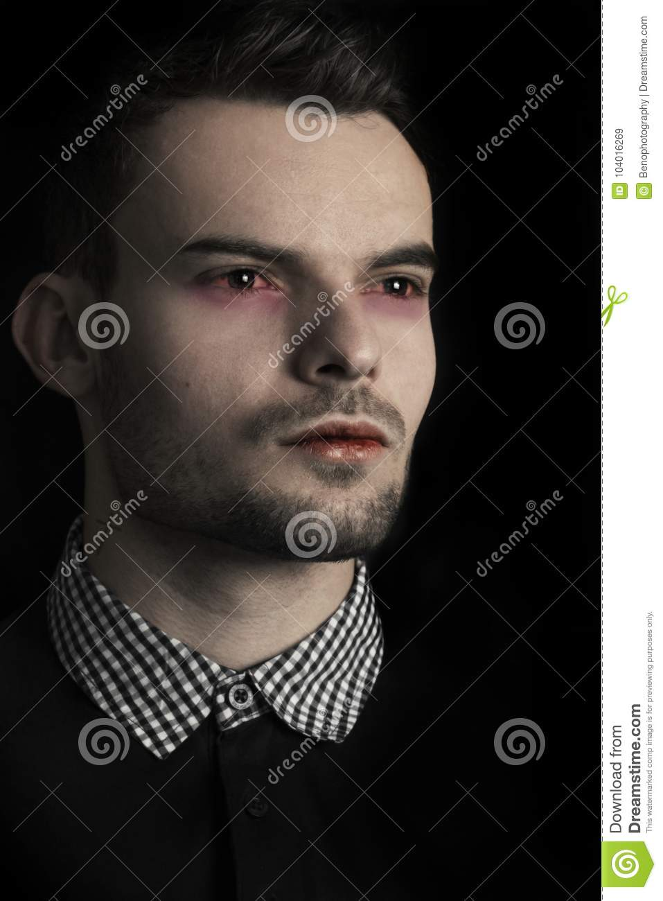 Close Up Face Of A Handsome Vampire Man Fashion Male Model As