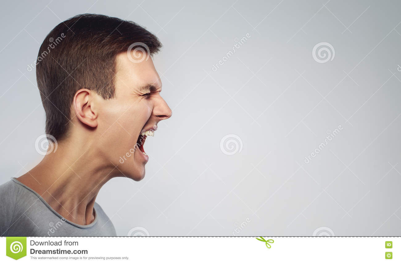 Close Up Face Man Shouting With Anger Cry And Stand In #0: close up face man shouting anger cry stand profile grey background copy space
