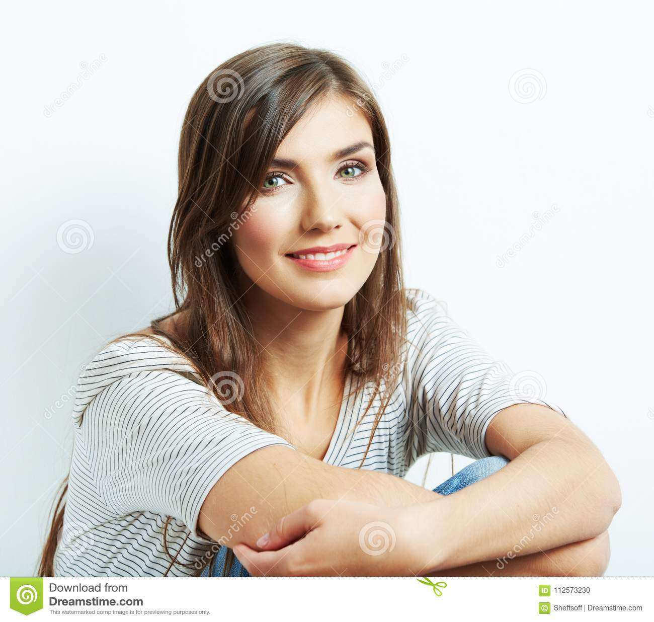 Close up face portrait of beautiful young woman