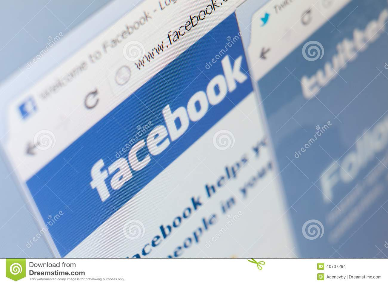 close up of facebook and twitter pages screenshot editorial stock image. Black Bedroom Furniture Sets. Home Design Ideas