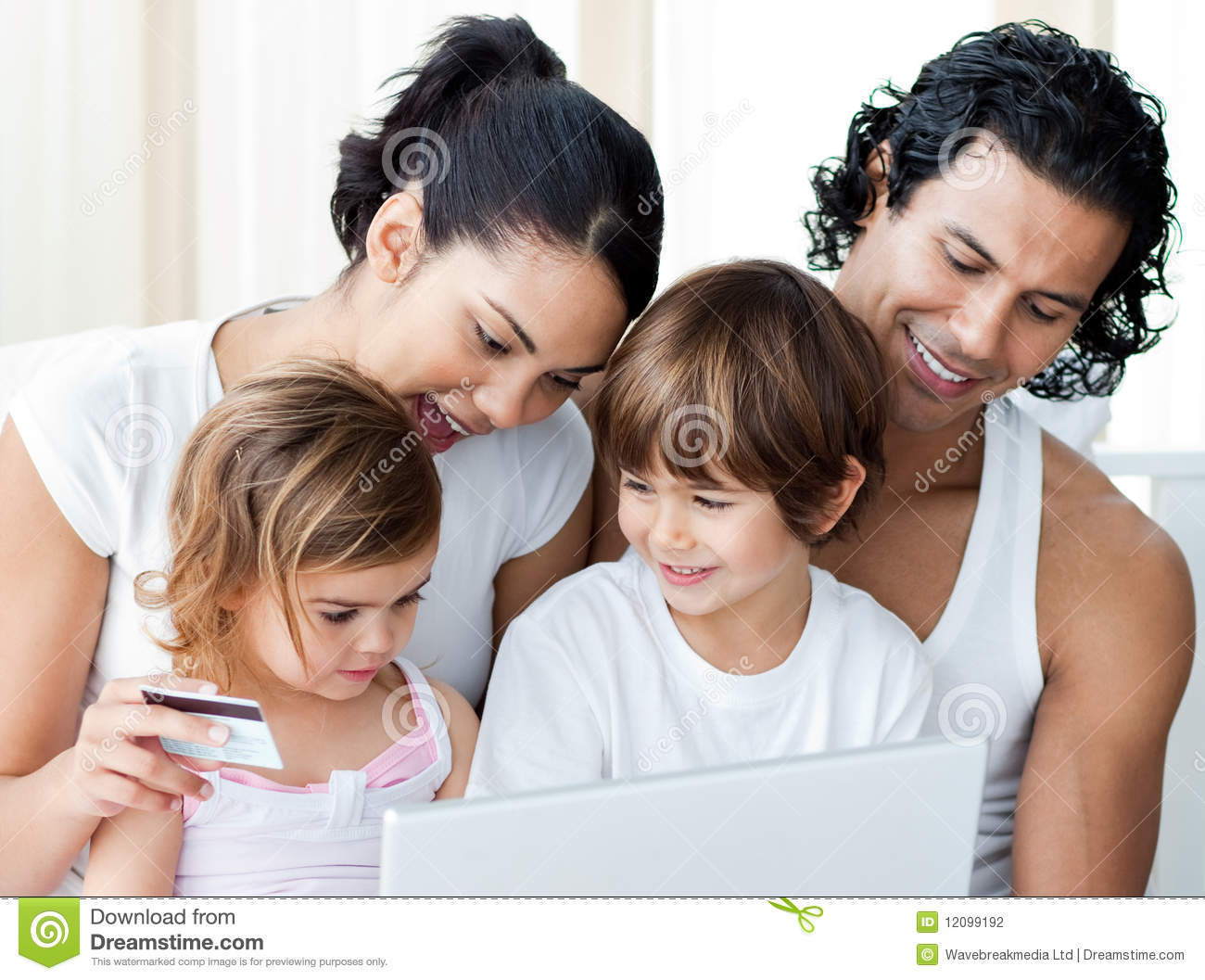 close up of a family shopping online. Black Bedroom Furniture Sets. Home Design Ideas