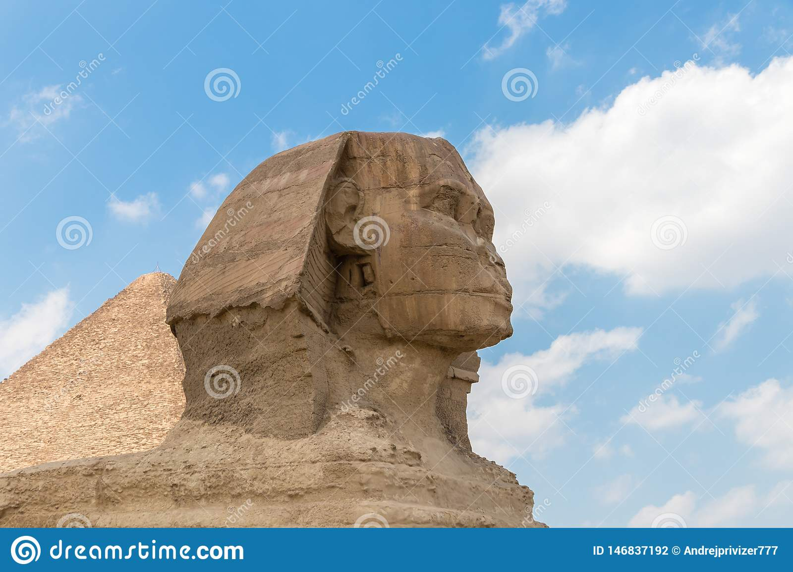 Close-up of a famous Egyptian Sphinx in Egypt