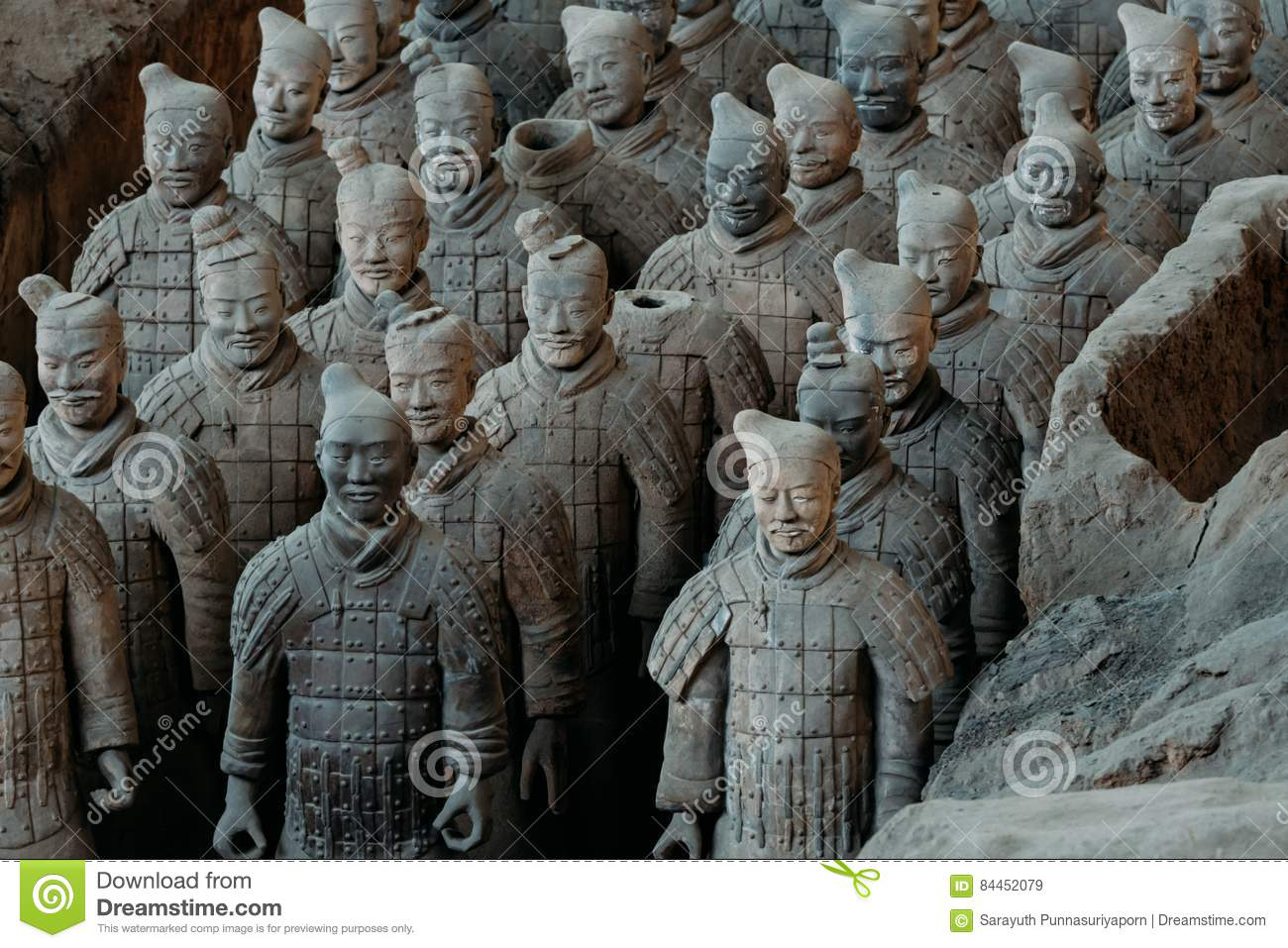 Close-up of famous Terracotta Army of Warriors in Xian, China.