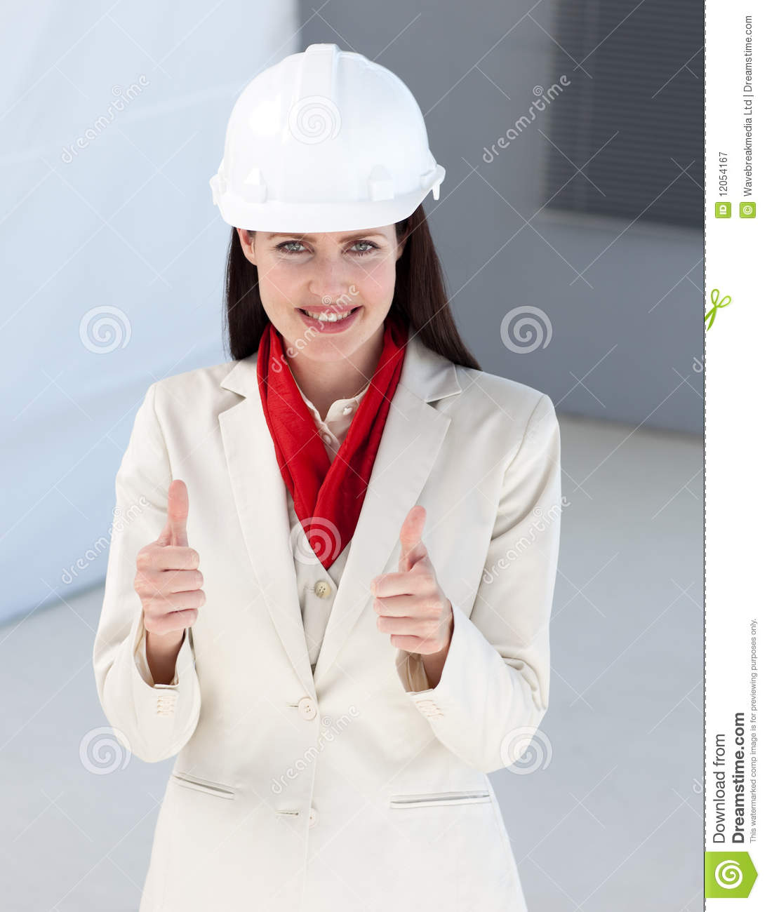 Close Up Of A Female Architect With Thumbs Up Royalty Free