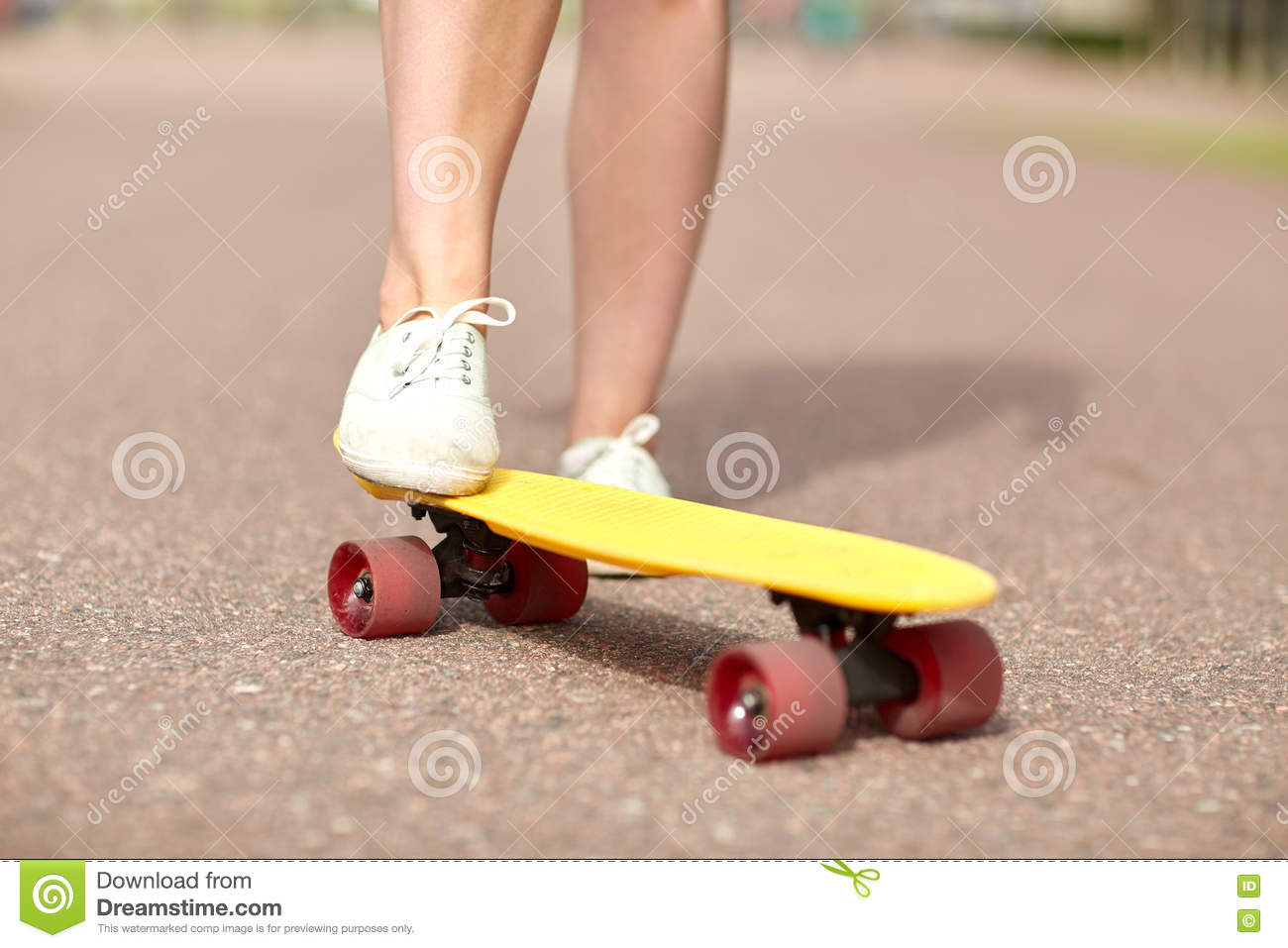 Close Up Of Female Feet Riding Short Skateboard Stock Image Image Of Goofy Foot 77359837