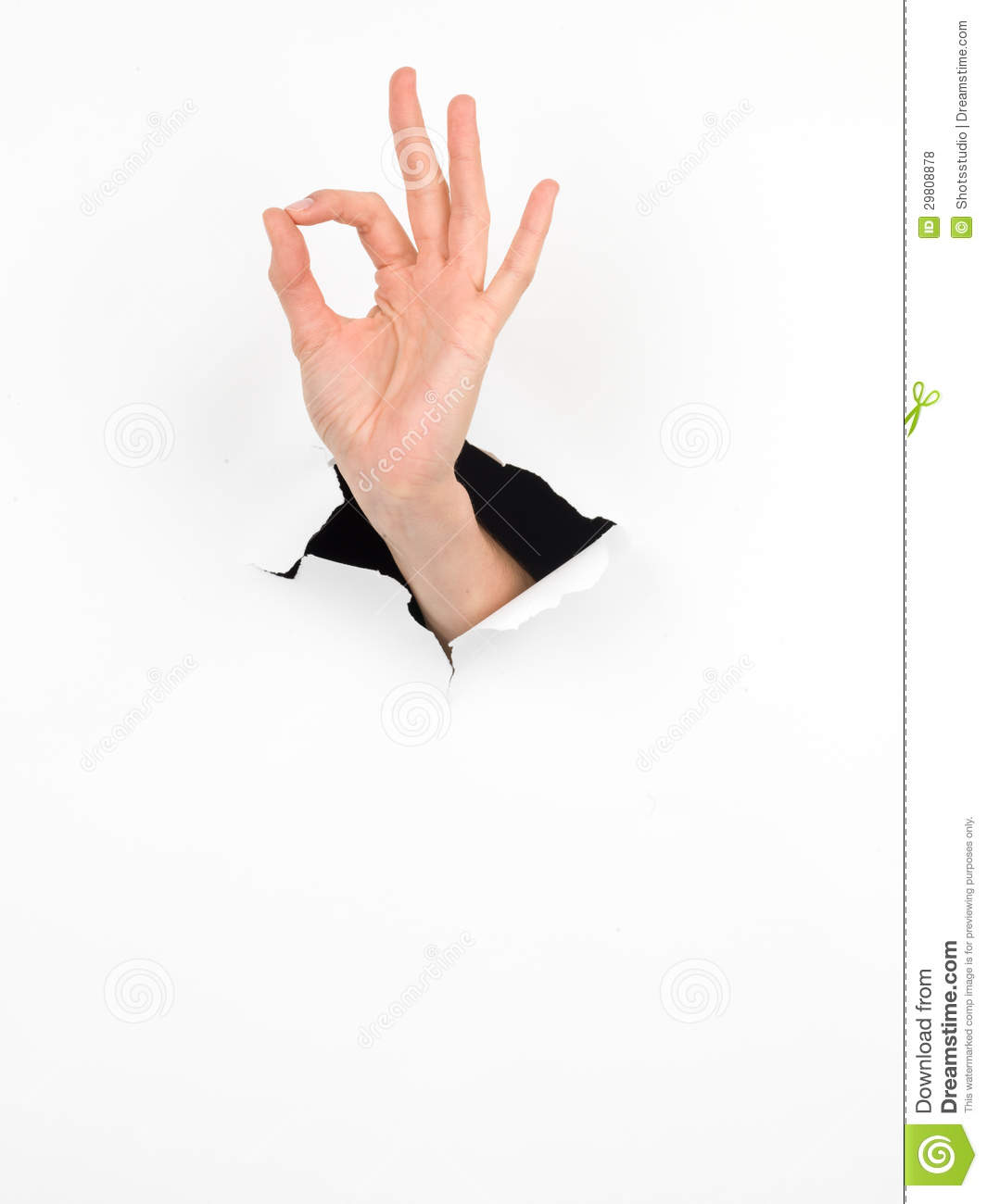 Female Hand, Ok Sign, Paper With Hole Stock Photography