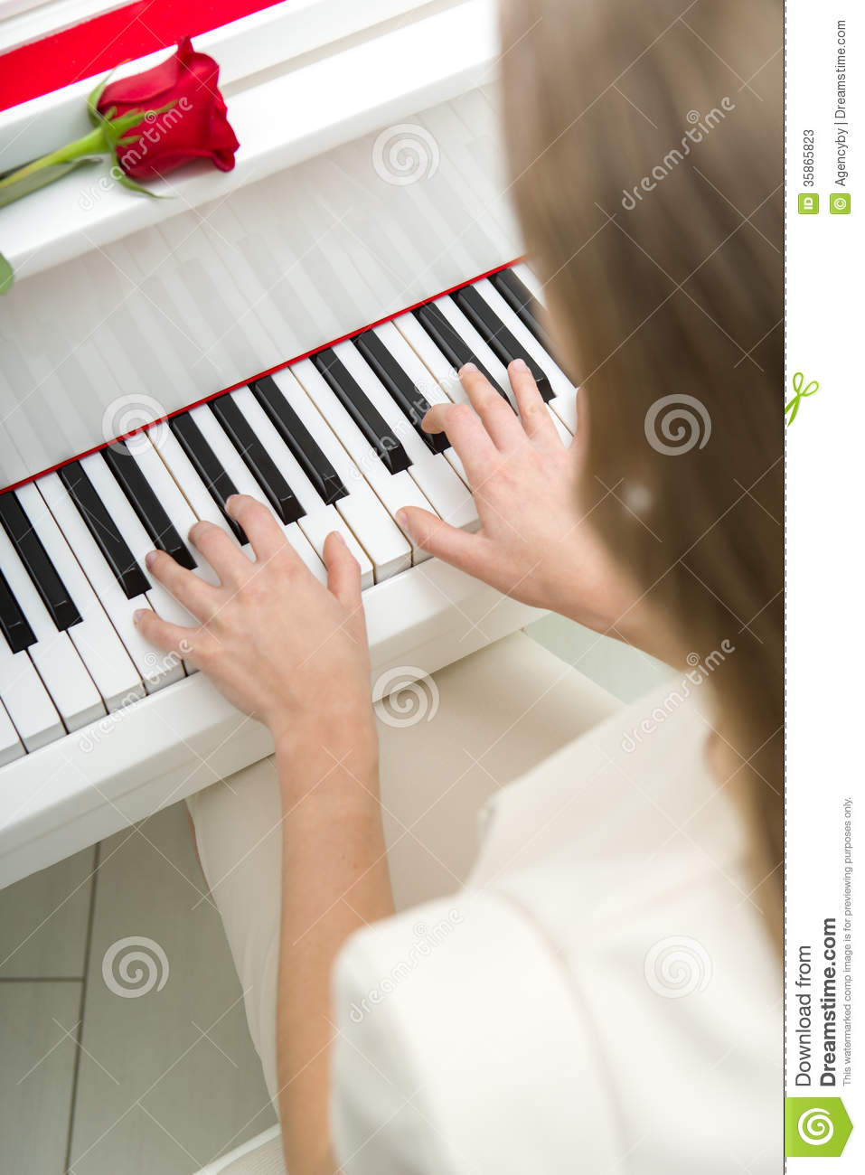 Close Up Of Female Hands Playing Piano Stock Photos ...