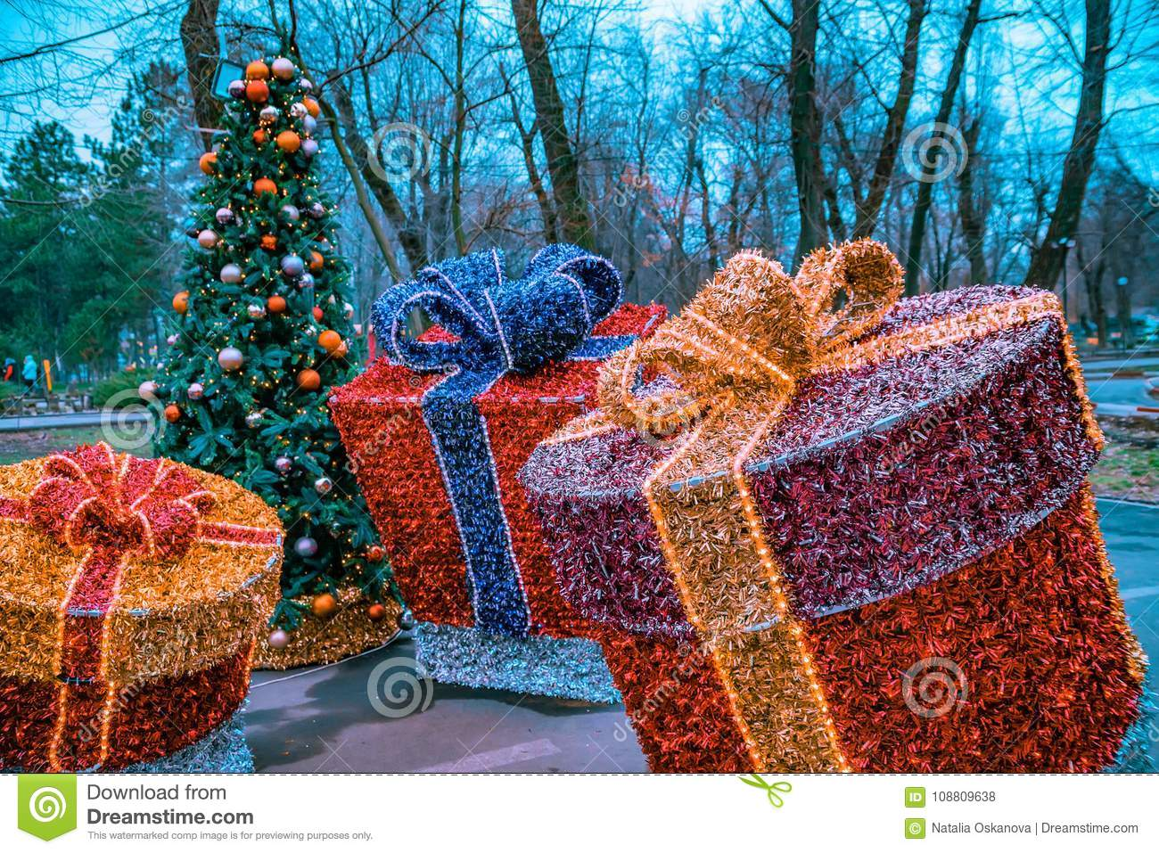 christmas decorations gift boxes made of tinsel