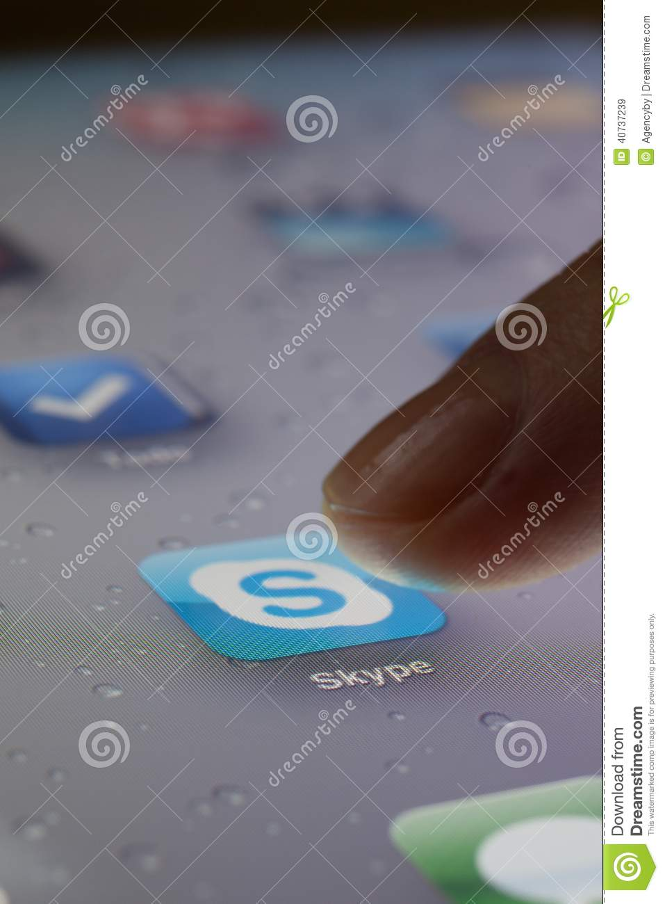 close up of finger choosing skype icon editorial stock image image 40737239. Black Bedroom Furniture Sets. Home Design Ideas