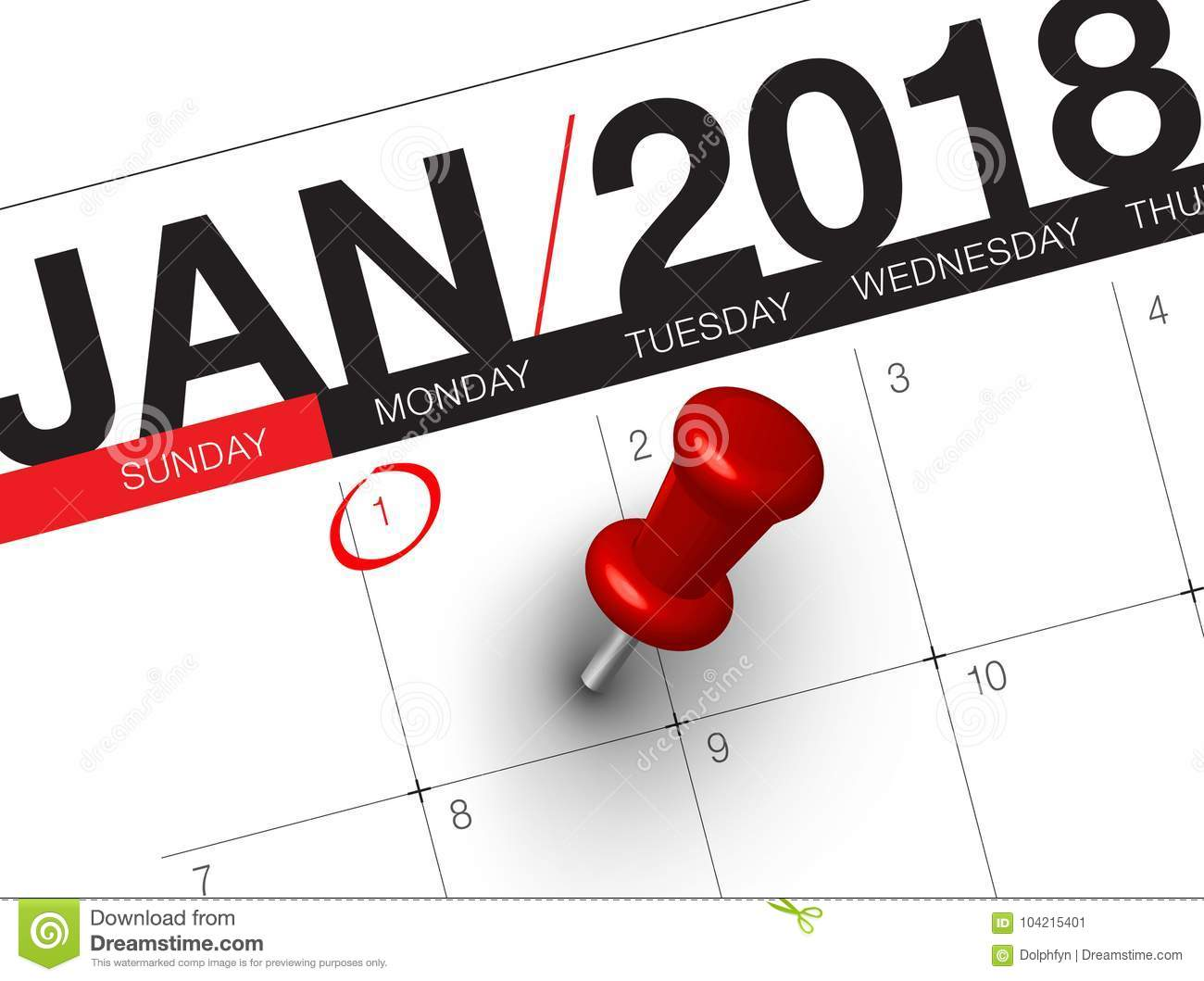 close up of first day of the year 2018 on diary calendar new year is the first day of the year in the gregorian calendar
