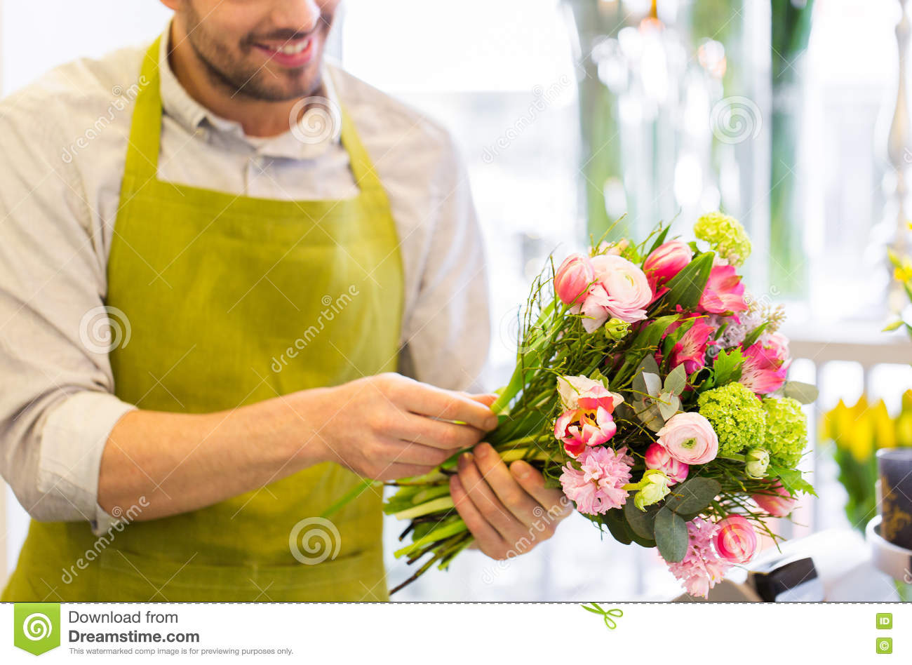 close up of florist man with bunch at flower shop stock photo image 71360214. Black Bedroom Furniture Sets. Home Design Ideas