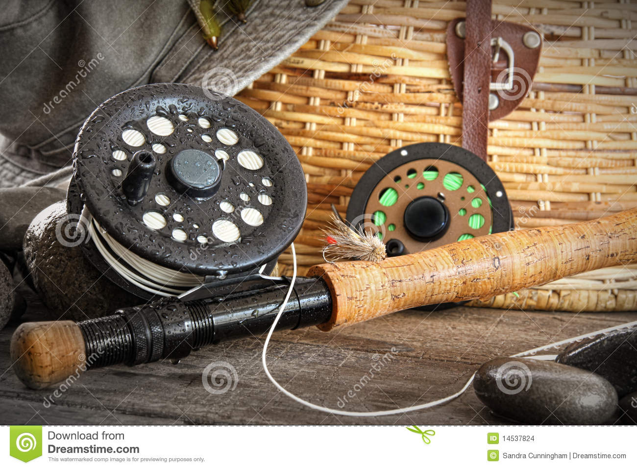 Close-up fly fishing rod stock photo. Image of ...