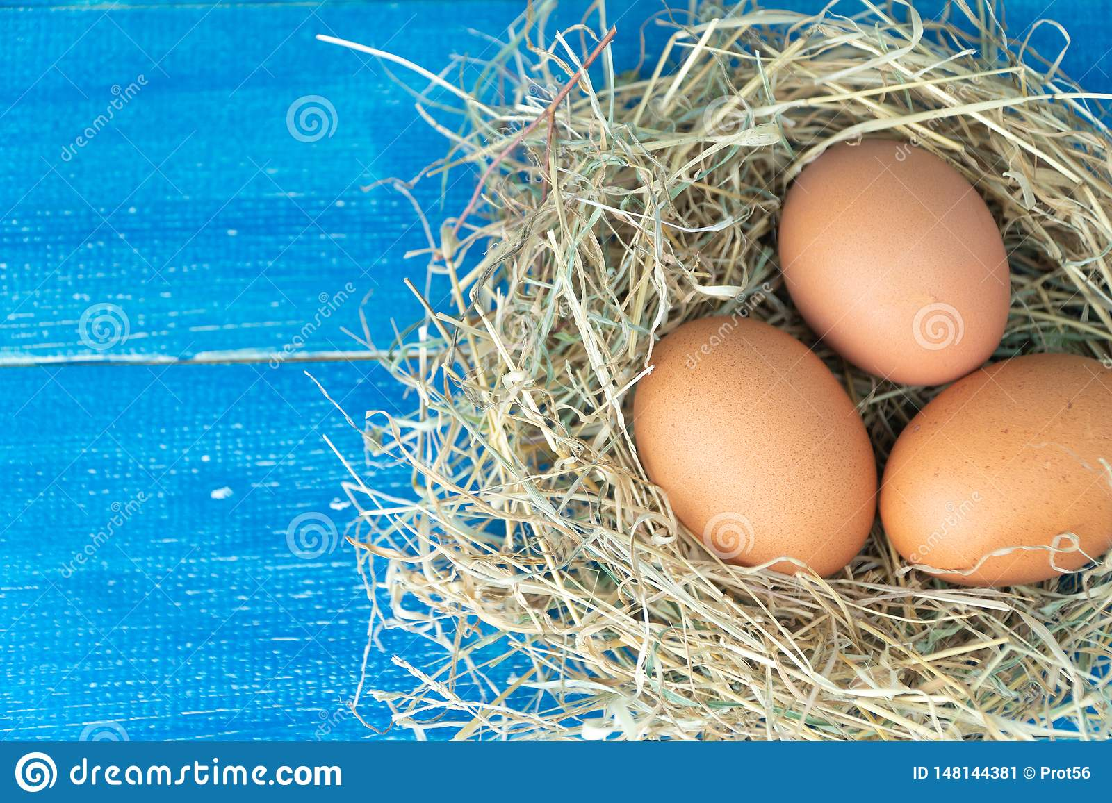 Close up of fresh brown chicken eggs in hay nest on blue wooden background. Concept of organic eggs, free space for text or other