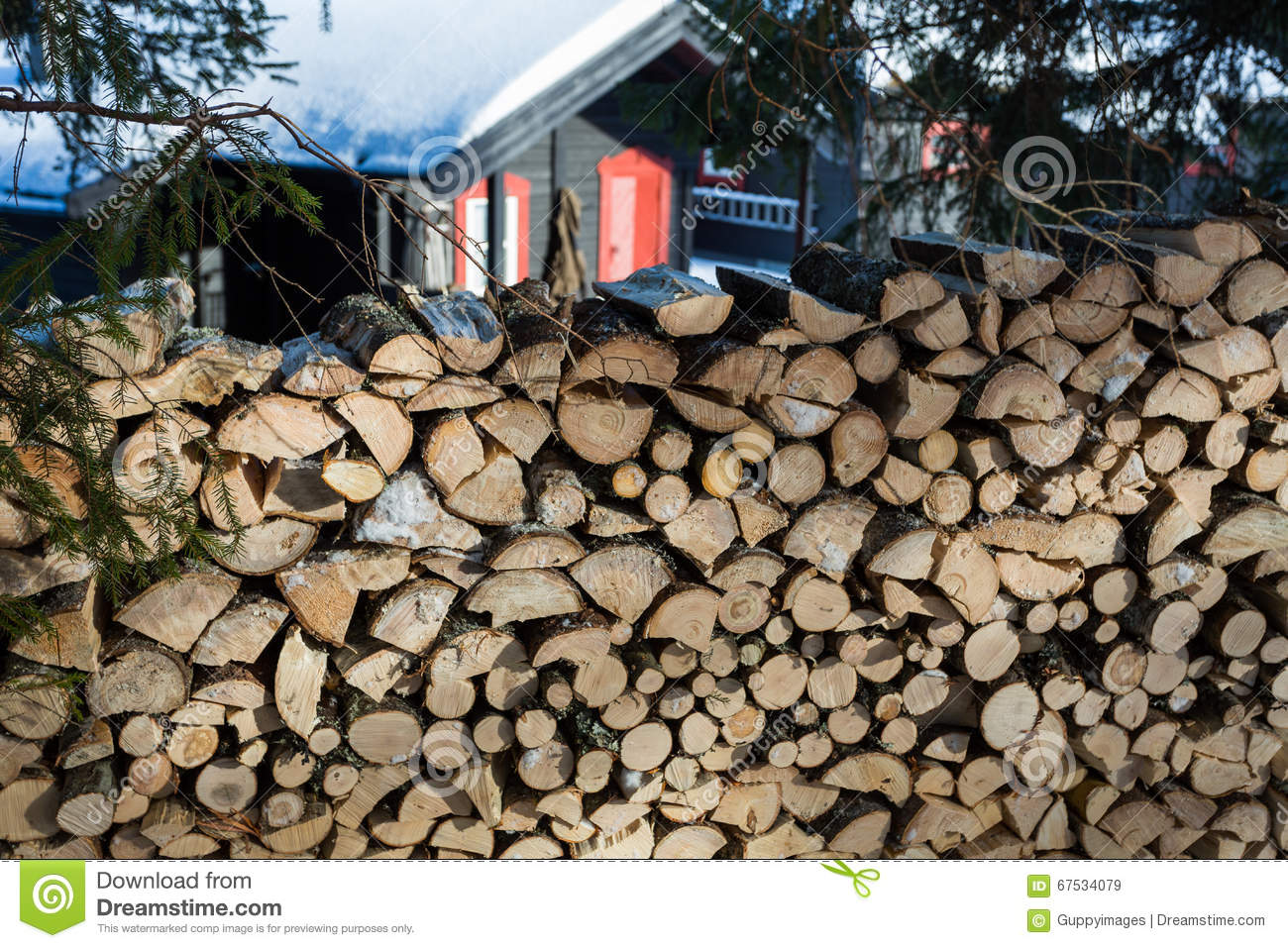 Close up of freshly chopped wood pile with a cabin in the background