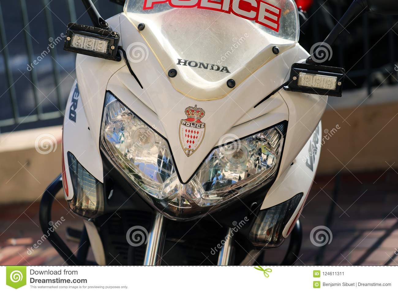 Close Up Front View Of A Monaco Police Motorcycle