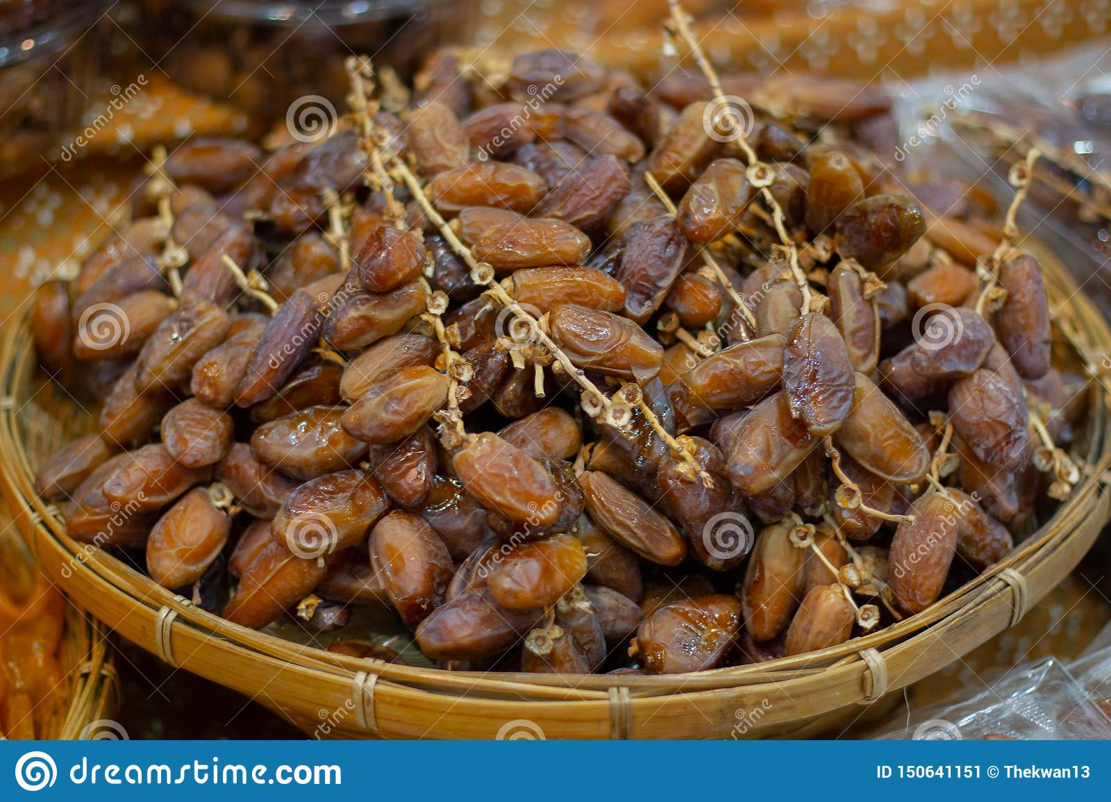 Close up fruits of date palm on the basket