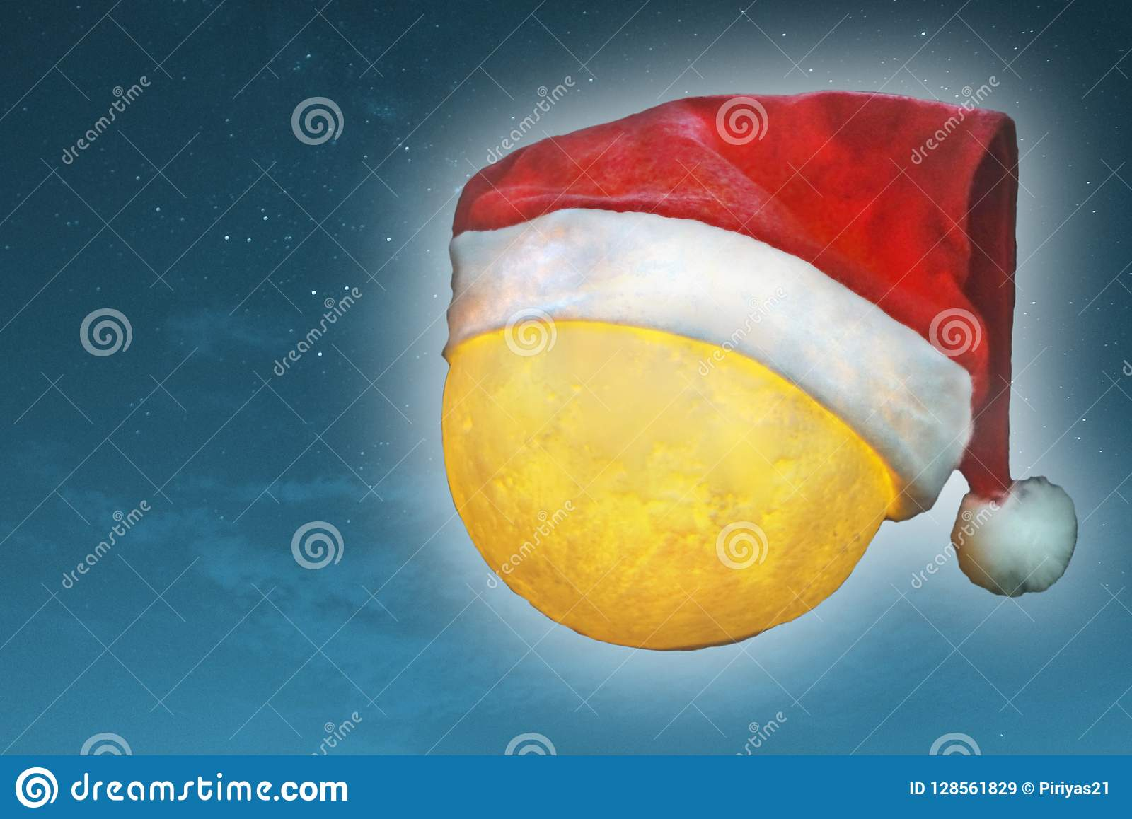 1942302aa Close Up Full Moon Wears Santa Claus Hat With Blue Sky Background ...
