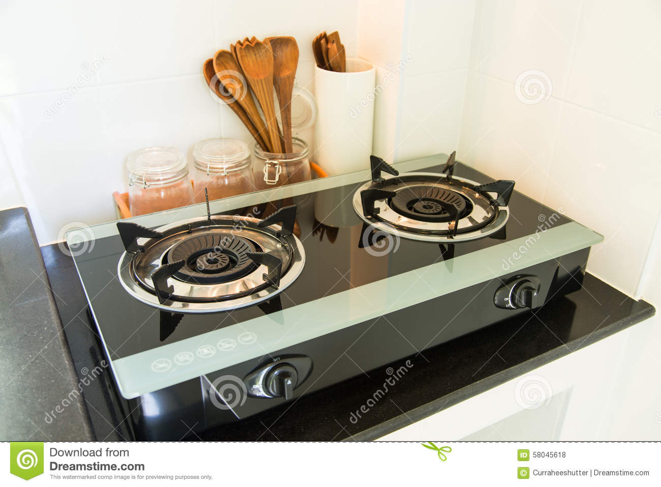 Close Up Of The Gas Stove In Kitchen Room. Modern Kitchen Interior,  Building Interior. Apartment, Style.