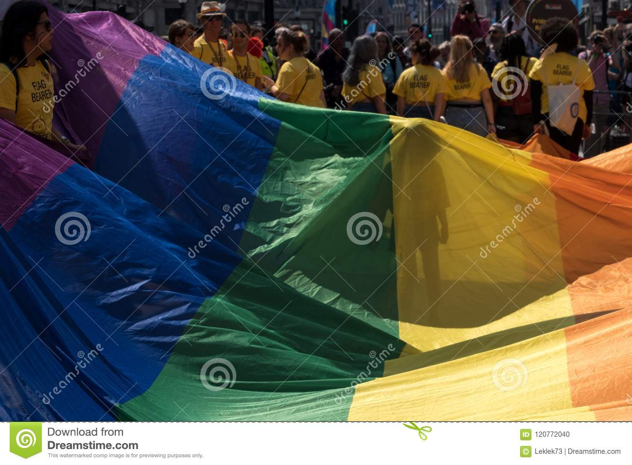 Giant rainbow flag at the GayFest pride parade