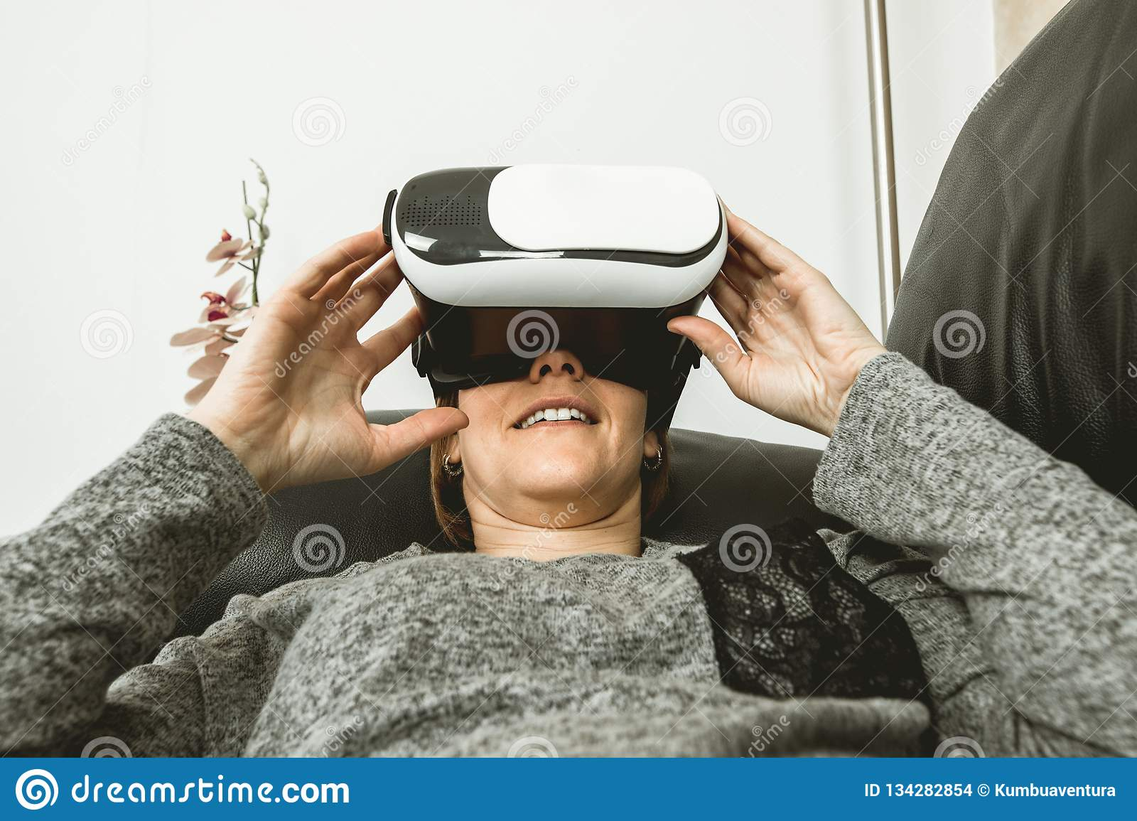 Close-up Of A Girl Smiling With Glasses Vr  Virtual Reality