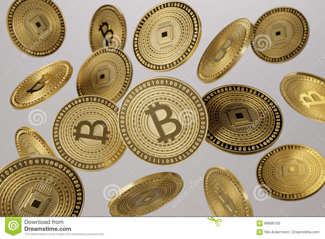 Close up of golden bitcoins tossed into the air as example for blockchain and crypto-currency concept