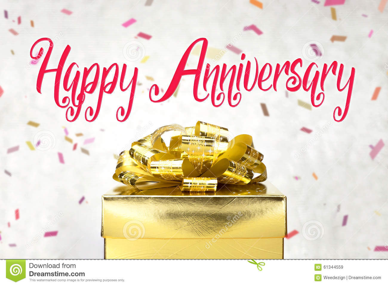 Close Up Golden Present Box With Happy Anniversary Word