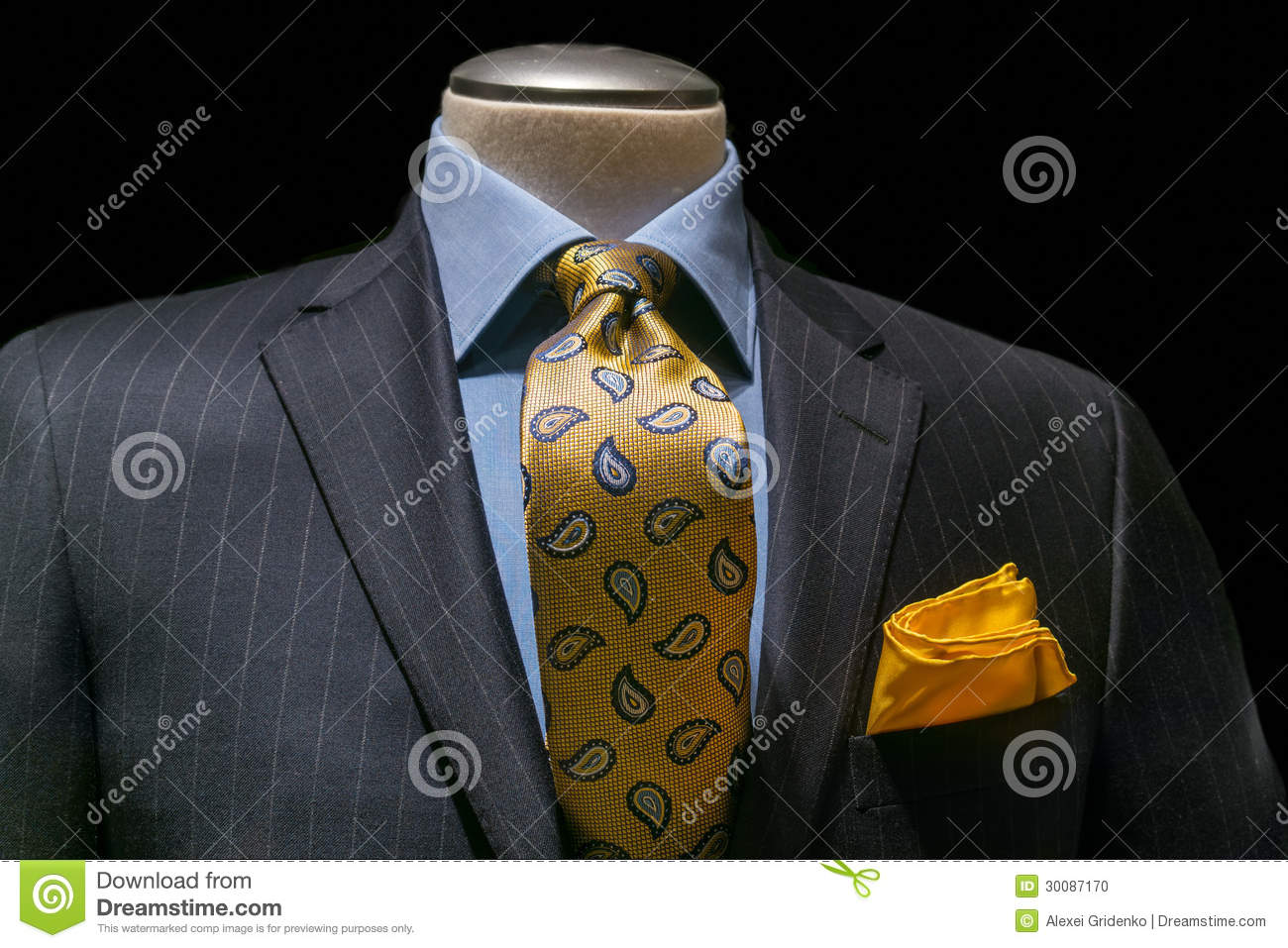 Cartoon Characters Yellow And Black Striped Shirts : Striped jacket with blue shirt tie handkerchief stock