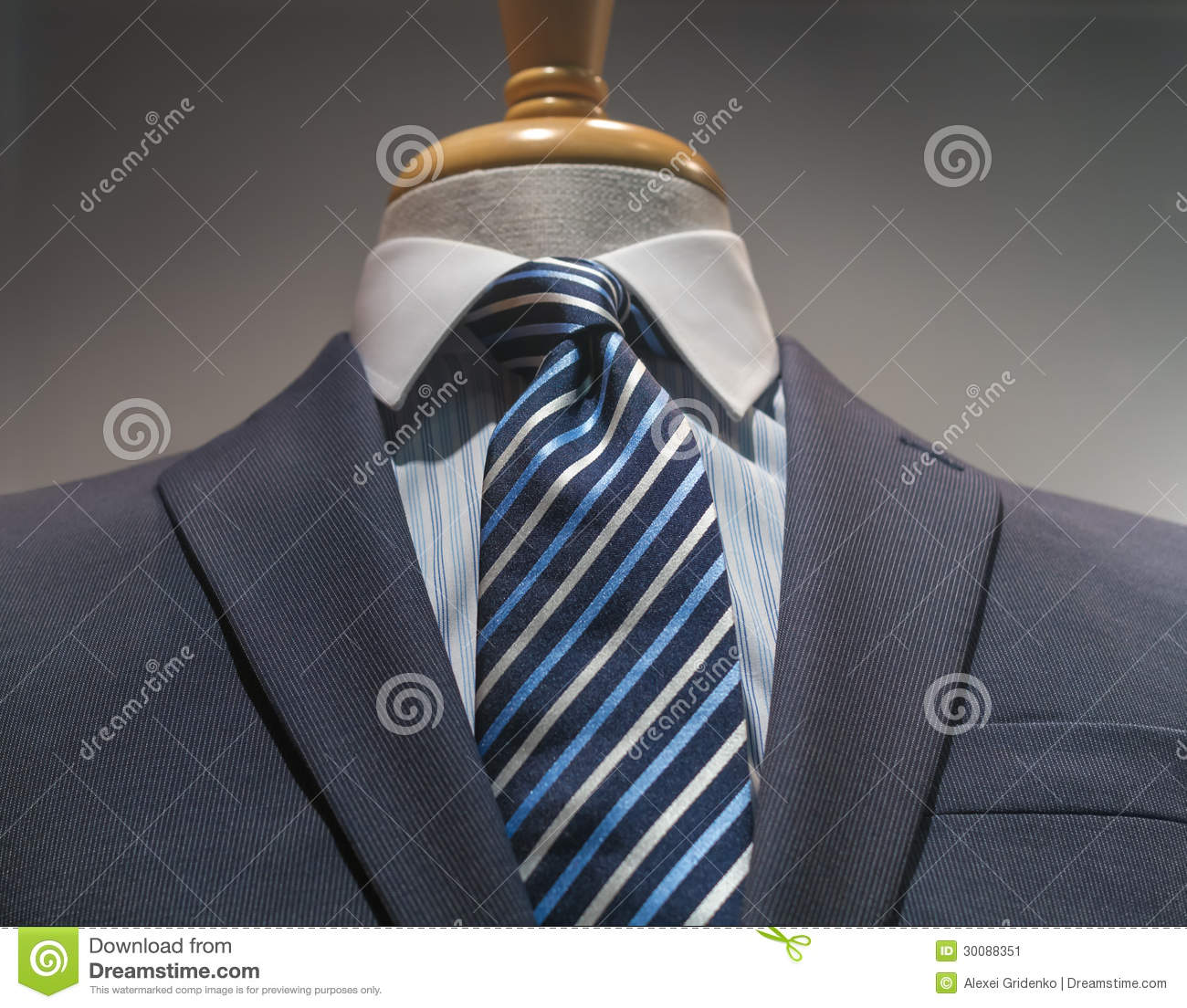 Gray striped jacket with blue striped shirt and tie stock for Striped tie with striped shirt