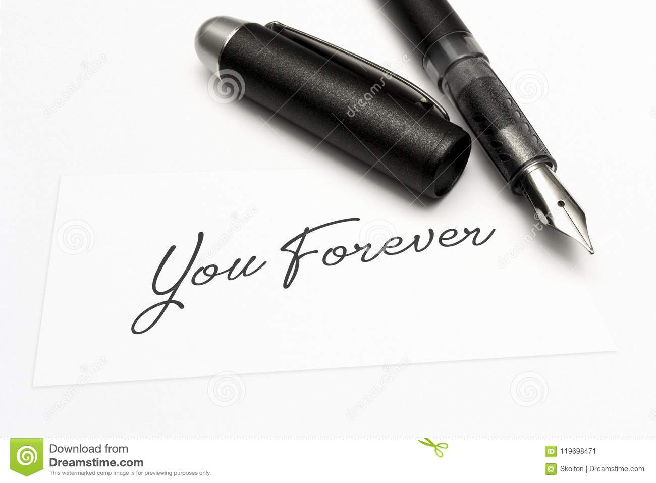 Close-up of a greeting card with the sweet word, you forever