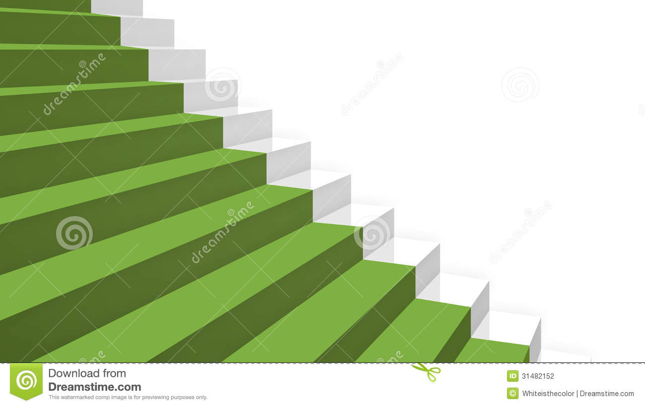 Close up Grey Stairs In Diagonal Perspective With Green