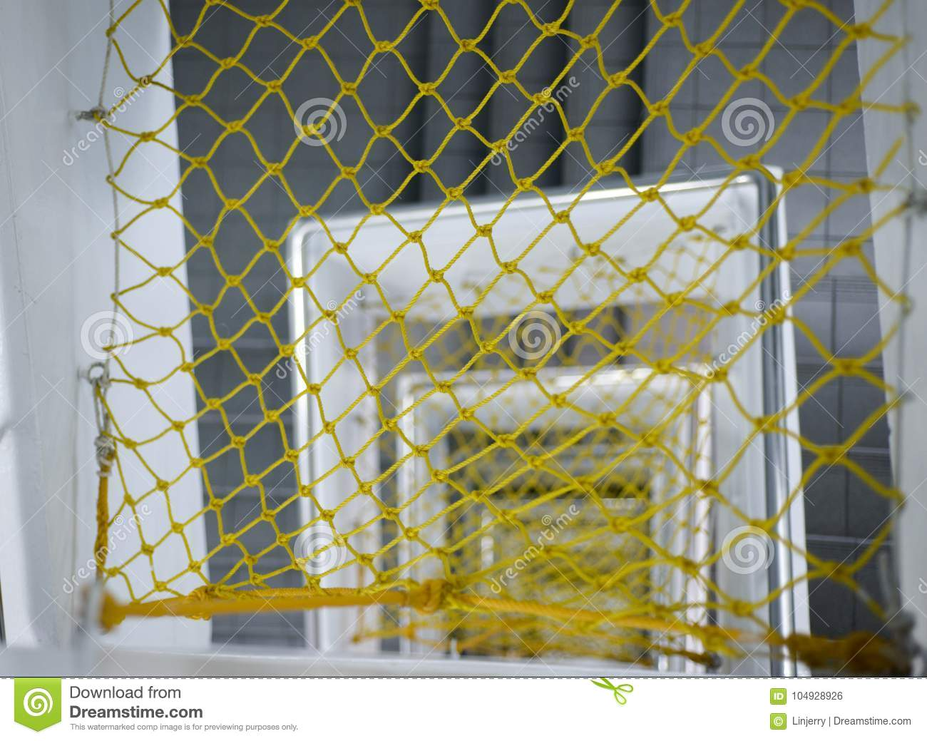 Protection Net Under Indoor Stair Stock Photo - Image of deep ...