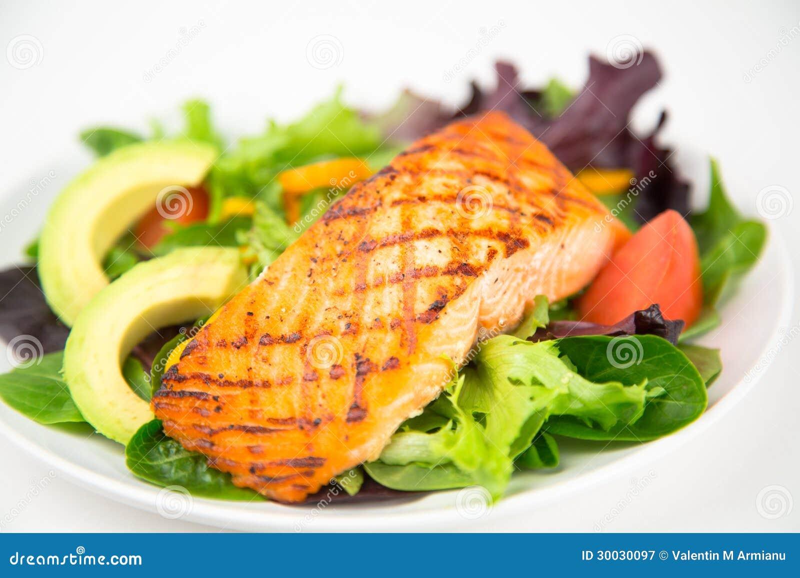 Grilled Salmon Salad Stock Photo 30030097 Megapixl