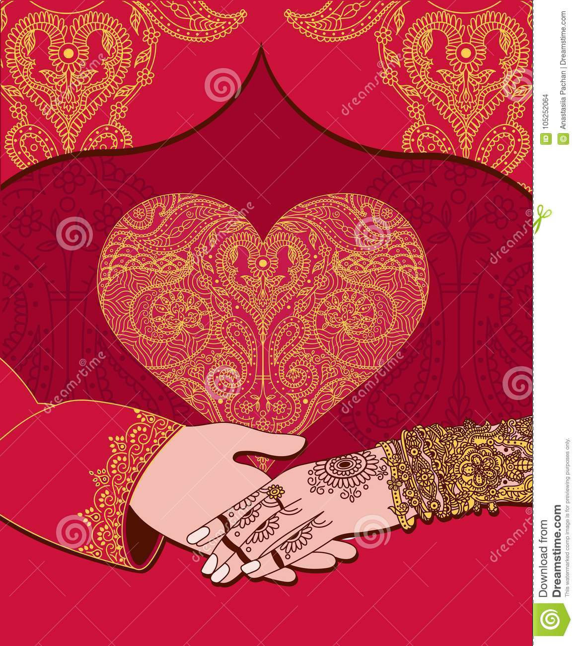 Wedding Indian Invitation Card With Golden Heart. India Marriage ...
